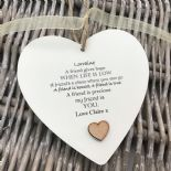 Shabby personalised Gift Chic Heart Plaque Special BEST FRIEND ANY NAMES Gift - 253984878923